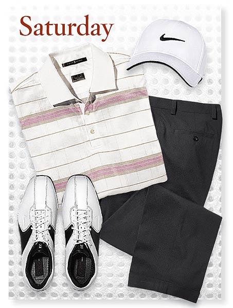 Saturday SHIRT: Bold Stripe polo ($85) PANTS: Black Collection SHOES: Air Tour TW 8.5 CAP: Tour Swoosh Flex