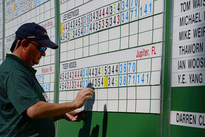 Woods's second-round score on No. 15 was changed from a six to an eight.