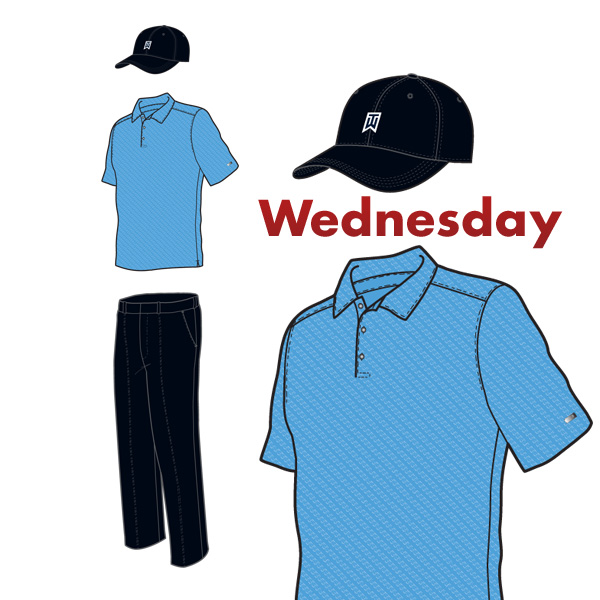 Sticking to the script, mostlyAs usual, Tiger Woods had all his outfits carefully scripted by Nike this week at the Match Play. Here are the drawings from Nike and photos of the actual outfits. First up is Wednesday's ensemble, with blue shirt and black pants.