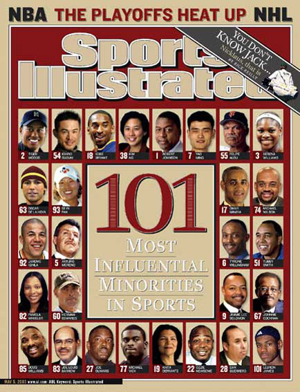May 5, 2003                     Woods is ranked No. 2 in a list of the 101 most influential minorities in sports.                                           Read the story.