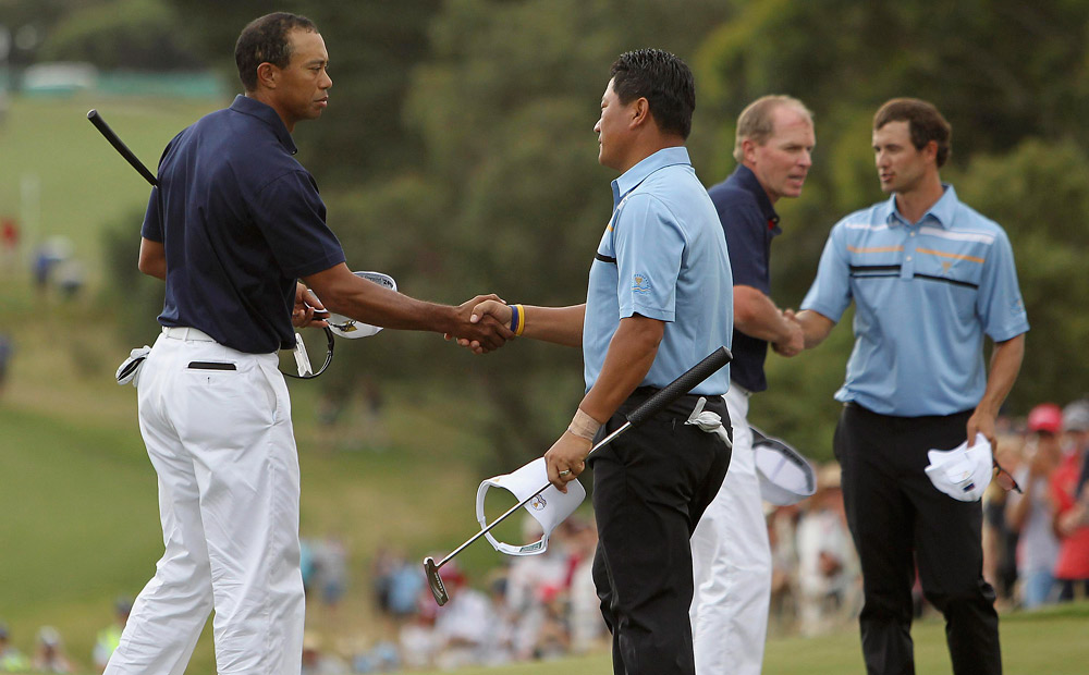 Tiger Woods and Steve Stricker, Thursday Foursomes, Presidents Cup: After going undefeated as a team at the 2009 Presidents Cup, Woods and Stricker were routed by Adam Scott and K.J. Choi, 7 and 6, in the first alternate-shot session of 2011. They made three bogeys, no birdies and failed to win a single hole.