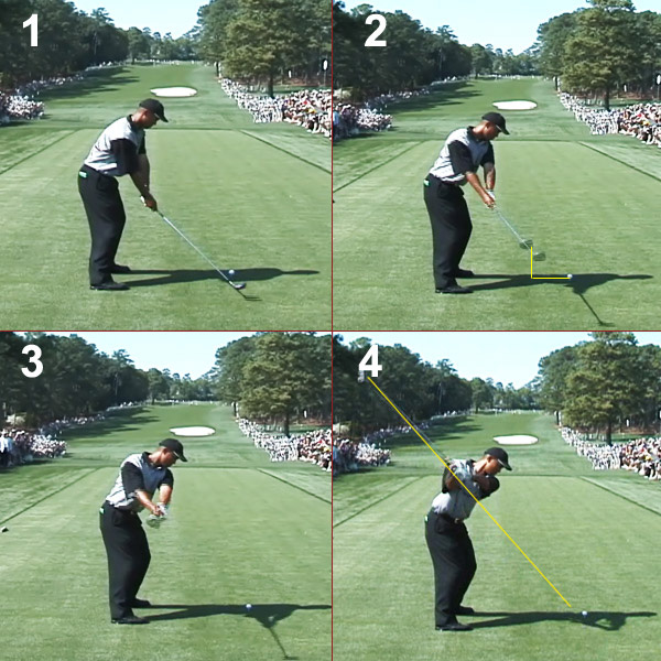 In Tiger's old move, shown here, he swung the club more to the inside on a more upright plane with the club actually pointing slightly inside the ball.The Fix Pushing your arms and clubhead away from you disconnects them from your body, and the more out and around your club travels the more steeply it will swing on the way down. Instead, keep your arms and club closer to your body as you take the club away. This allows them to drop to the inside on your downswing and release freely and with more power.