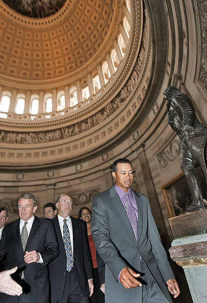 TOUR STOPS On a D.C. swing Tiger visited Capitol Hill and broke the news of his new PGA event.