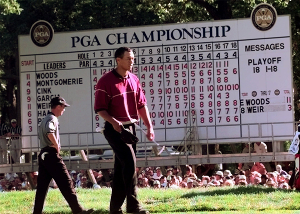 """Mike Weir                     1999 PGA, Medinah Country Club (No. 3)                     Started: Tied with Woods                     Finished: Tied for 10th after an 80                     Woods' score: 72                     Key stat: Weir started par, bogey, bogey, and shot 40 on                     the front nine.                     Where it all went wrong: Where didn't it? The day was                     such a disaster that Weir said he was """"feeling kind of spacey""""                     after nine holes.                     Telling comment: """"It was nothing with the gallery, or Tiger,                     or anything,"""" Weir said then. """"It was all me.""""                      Weir's thoughts                     today: """"I wasn't expecting that much security, that many                     people inside the ropes. And I didn't have anybody with me. It                     was frustrating getting to the tees; he'd walk ahead and it                     would take me two minutes to cut through all the people."""""""
