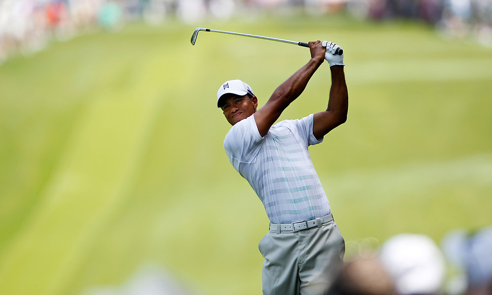 Tiger Woods got off to a shaky start at the Wells Fargo, shooting a one-over 37 on the front nine.