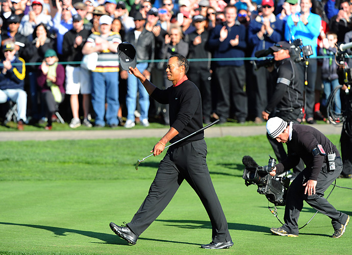 Win 9: He's Back                       Following his dramatic '08 U.S. Open win, Woods saw his career slide off the tracks. The scandal that broke out in late 2009 was followed by injury-plagued seasons and a lengthy swing overhaul. By the time he arrived in La Jolla for the 2013 Farmers Insurance Open, however, Tiger was coming off a three-win season and seemed to be healthy and have his swing under control for the first time in years.                       That week, Woods put on a putting clinic, capturing his eighth professional victory and ninth win overall at Torrey Pines by a four-shot margin over Brandt Snedeker and Josh Teater.