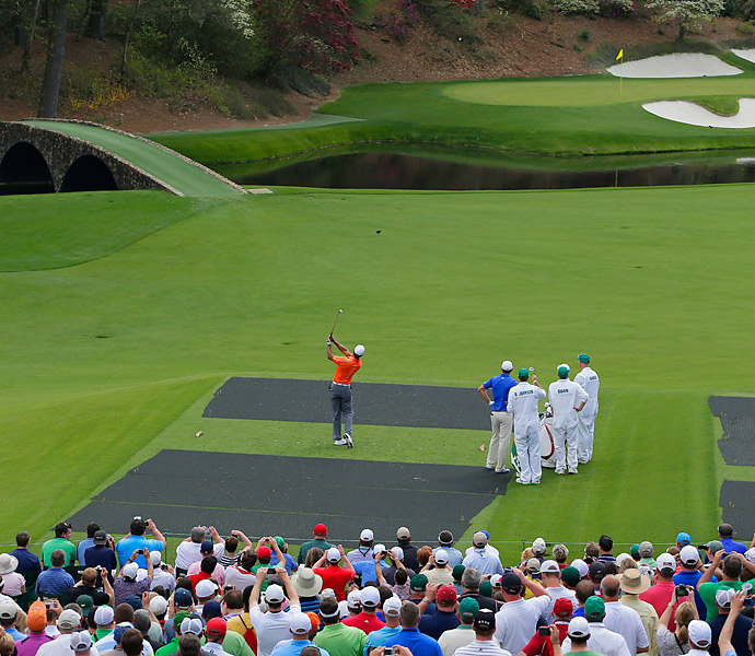 Woods on the iconic 12th hole at Augusta National.