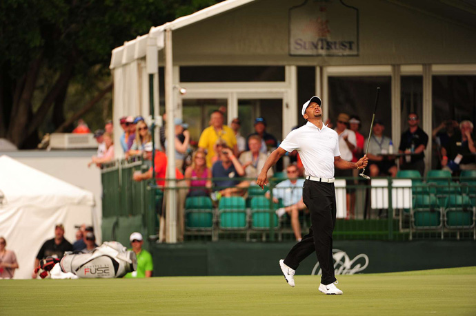 Woods just missed a birdie putt on 17.