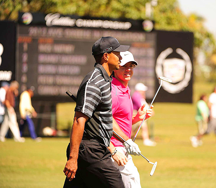Tiger Woods and Rory McIlroy played together in the first round of the 2013 WGC-Cadillac Championship at Doral.