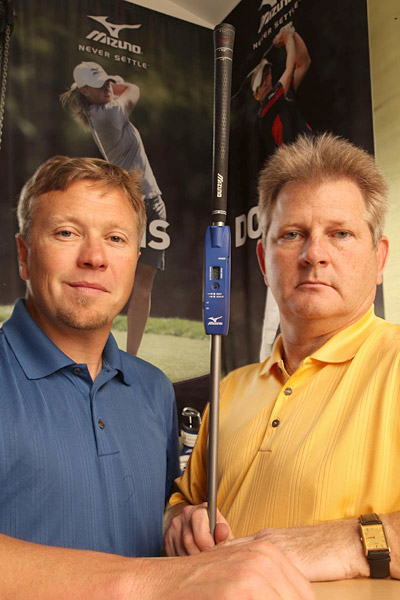 David Llewellyn and Bill Price, R&D managers, Mizuno USA                       Llewellyn (below, left) and Price were part of a global team that developed the Shaft Optimizer, a device clipped to a six-iron that renders optimal specs based on a golfer's tempo, clubhead speed and release. If Luke Donald thinks his fitness program has made him stronger, he can hit a few balls with the Optimizer to see if he's playing the right shafts. If he's not, Llewellyn and Price's staff can swap them out on the spot.