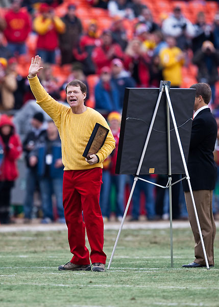 The Kansas City Chiefs honored local golfer, and fan, Tom Watson, 59, in their pregame ceremonies Sunday. Watson was recognized for his career achievements, including a second place finish at this year's British Open. He received a plaque and framed Chiefs jersey.