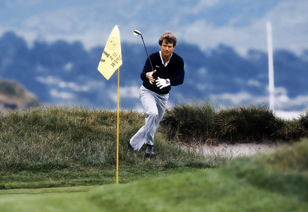 Tom Watson, 1982 U.S. Open at Pebble Beach                     Jack Nicklaus was tied for the lead at four under par and watching on TV in the scoring tent as Tom Watson yanked a two-iron into the left rough at the par-3 17th. Most observers, including Nicklaus, thought bogey was likely, but in reply to caddie Bruce Edwards's comment that his man could save par, Watson predicted that he was going to hole the 16-foot shot. Then he did just that, pointing to Edwards as he raced around the green in celebration. For good measure, Watson also birdied the last to win by two.