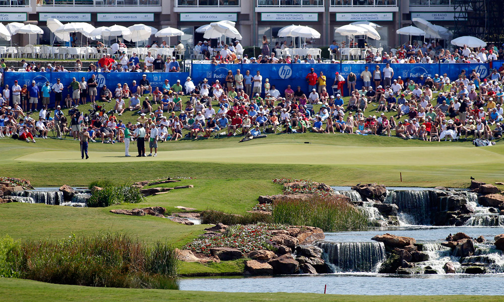 3. TPC Four Seasons Resort, Irving, Texas (HP Byron Nelson Championship)                       Par: 70                       Yards: 7,435                       Average Score: 72.354 -- 2.354 strokes over par                                              The 18th hole at the TPC Four Seasons Resort at the 2011 HP Byron Nelson Championship.