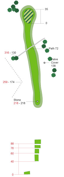 Hole 9 - Bruce's Castle                       Par 4, 449 yards