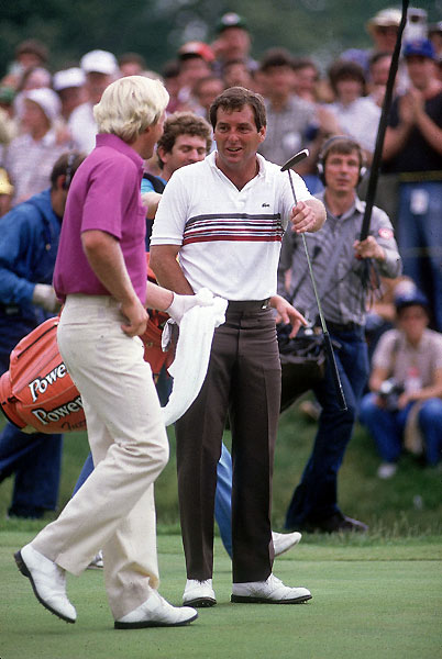 6. 1984 Fuzzy Zoeller vs. Greg Norman 276-276* (Zoeller won playoff, 67-75)Tied for the lead with Fuzzy Zoeller and playing the 72nd hole in the group ahead, Greg Norman blocked his 6-iron approach into the grandstand. After a poor chip, the Shark somehow holed a downhill, left-to-right, 45-foot putt for par. Watching from the fairway, Zoeller grabbed a white towel and waved it in mock surrender, one of the most memorable gestures in golf history. In a playoff the next day, when the Fuzz ran in a 68-foot birdie putt at the second hole, it was Norman's turn to surrender. Zoeller's 67 was the lowest score ever in a U.S. Open playoff, and his 8-shot victory margin was the largest ever.