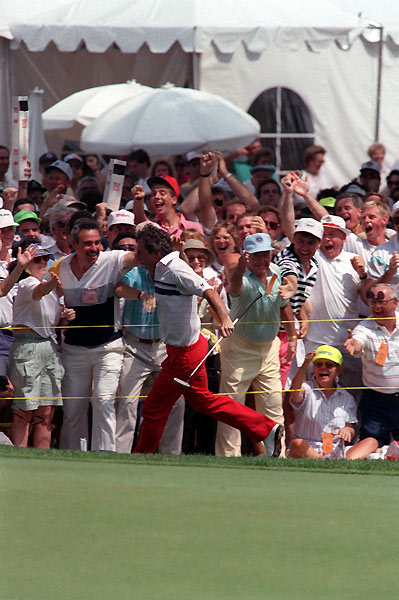 9. 1990 Hale Irwin vs. Mike Donald 280-280 (Irwin won playoff on 19th hole)Prior to the 1990 U.S. Open at Chicago's Medinah No. 3, Hale Irwin's public persona projected all the pizzazz of an insurance salesman. One putt shattered that perception. The 45-year-old Irwin had been awarded a special exemption to play — but he wasn't supposed to win. Then again, neither was journeyman Mike Donald. Irwin came to the final regulation hole needing a 45-foot birdie putt for a 67. Astonishingly, he rolled it in. The gallery went berserk, and unexpectedly, so did Irwin. He galloped around the green, raising his arms in joy and high-fiving spectators. Donald later tied him and even matched Irwin's 74 in the Monday playoff, but on the first extra hole Irwin became the oldest U.S. Open winner ever.