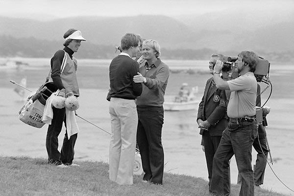 "2. 1982 Tom Watson vs. Jack Nicklaus 282-284As a Stanford student in the late 1960s, Tom Watson would drive down to Pebble Beach and fantasize that he and Jack Nicklaus were competing head-to-head for the U.S. Open title. In 1982, fantasy became reality. Tied with two holes to play, Watson hit a 2-iron long and into the dense rough at the par-3 17th. ""Get it close,"" said his caddie, Bruce Edwards. ""Get it close?"" responded Watson. ""Hell, I'm going to make it."" Watson backed up his bravado by scything his sand wedge through the cabbage and popping his ball onto the green, where he watched it take two short bounces and roll like a putt — directly into the cup. One last birdie at 18 sealed the deal."