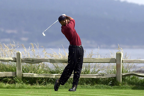 "3. 2000 Tiger Woods vs. Pebble Beach 272-284The tournament began with a 21-ball salute to the late defending champion Payne Stewart, but by week's end, every man present paid awestruck tribute to the 2000 champion, Tiger Woods. ""That was the best performance I've ever seen,"" said two-time U.S. Open champ Andy North. ""Nothing else comes close."" So dominant was Woods in destroying a Pebble Beach layout where the second best score was 3-over-par 287 that it moved Ernie Els to say, ""Finishing second is good. But it's kind of embarrassing to finish 15 shots behind a guy."" Tiger's wire-to-wire sledgehammer act broke nearly every major championship scoring record."