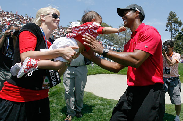 """I understand why my dad was so emotional in 2002 when I won and I brought it back to him,"" Woods said. ""I understand now, now that I am a father, how he felt to have my daughter there and to have Elin there, it means so much more when you do it. Obviously it's not Father's Day, but close enough."""