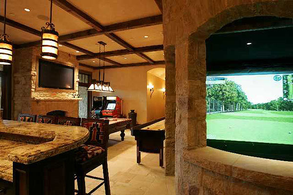 The house features a golf simulator.