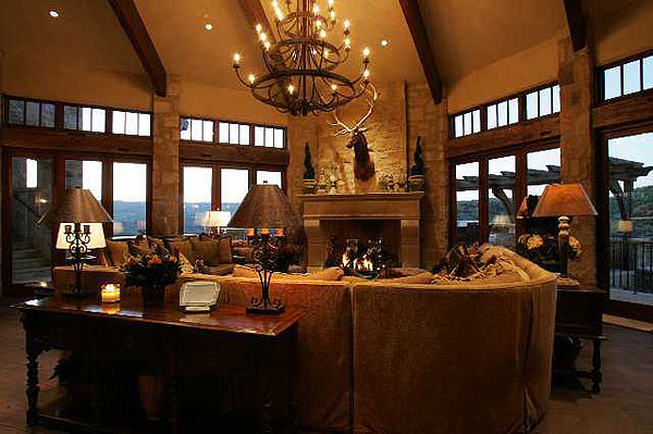 The house has many imported and antique finishes, including hand-crafted Biblical stone imported from Israel and 200-year-old beams from Midwestern barns.