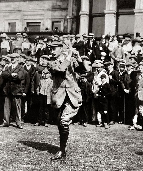 Harry Vardon, six-time winner of the Open Championship (1896, 1898, 1899, 1903, 1911, and 1914) and inventor of the overlapping grip, wearing a Norfolk jacket, matching knickers, and shined leather shoes, circa 1905.