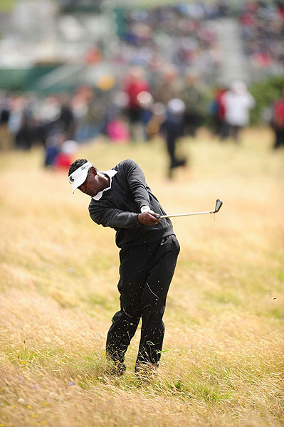 Vijay Singh gave up five strokes Saturday and is six strokes behind the leader.