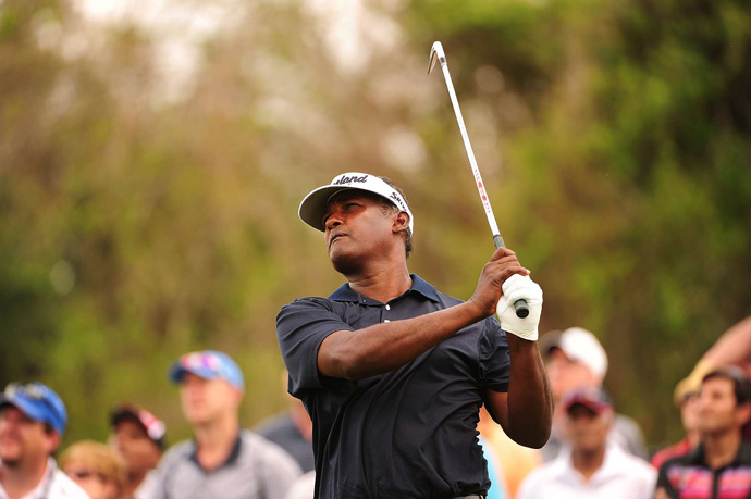 Vijay Singh made four bogeys and a birdie for a 75.