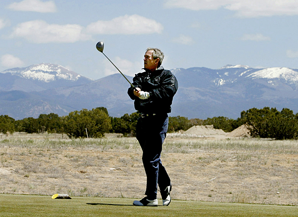 """George W. Bush once gave up golf during office, saying, """"I think playing golf during a war just sends the wrong signal."""" Now out of office, Bush has organized a golf tournament for wounded veterans."""