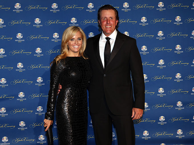 Phil and Amy Mickelson at the 2012 Ryder Cup opening ceremonies.