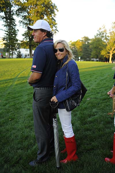 Phil and Amy Mickelson follow the play during the Day One fourball matches of the Presidents Cup.