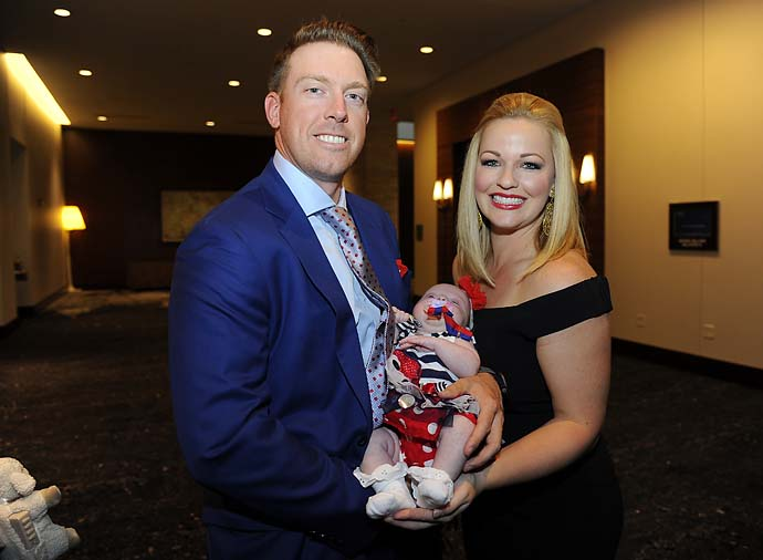 Hunter and Kandi Mahan with new daughter Zoe at the Presidents Cup opening ceremonies.