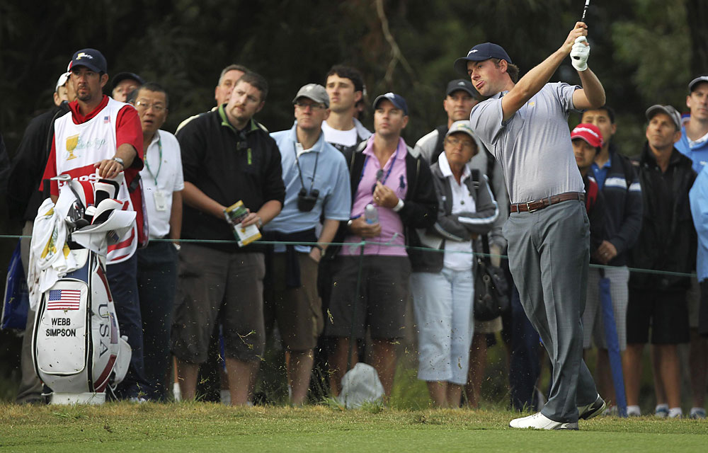 Webb Simpson and Bubba Watson lost their first match of the week to Retief Goosen and Charl Schwartzel, 2 and 1.