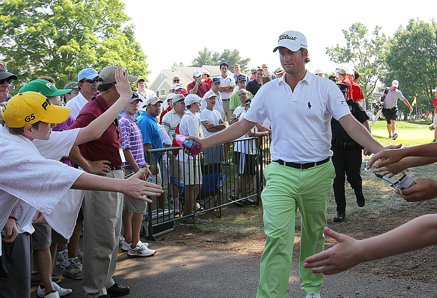 U.S. Open champion Webb Simpson was back in action Thursday, and he continued his good play with a four-under 66.