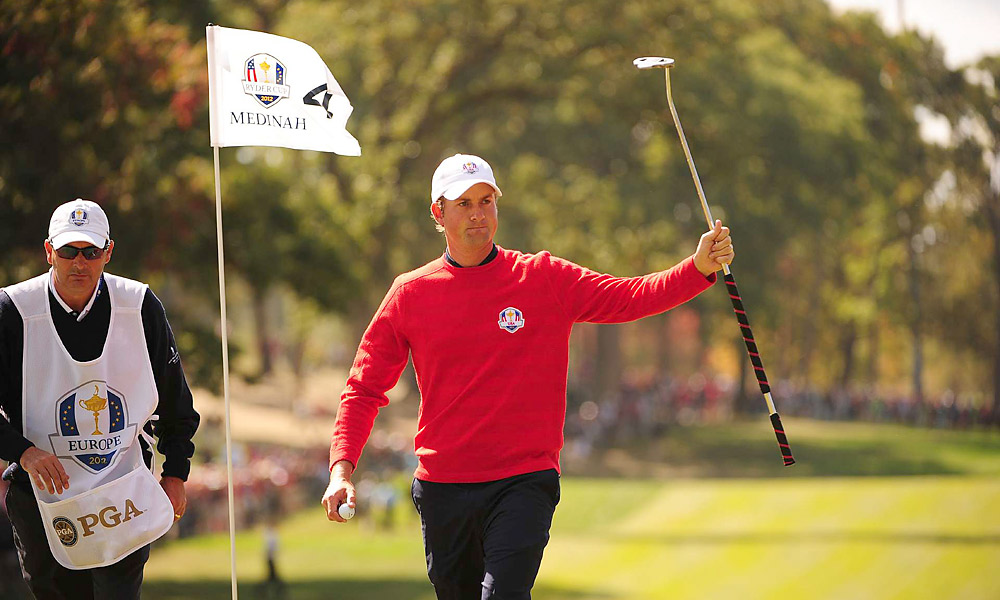 Webb Simpson lost to Ian Poulter, 2 down.