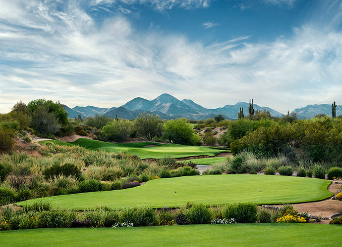 5. We-Ko-Pa (Cholla), Ft. McDowell, Ariz.; wekopa.com; $75-$230                       We-Ko-Pa's original course, designed by Scott Miller, owns the slight edge over its Coore-Crenshaw sibling for sheer drama. As with the Saguaro course, Cholla zigzags through cactus-framed canyons, climbs atop ridges and offers stunning vistas of Four Peaks Mountain and Red Mountain.