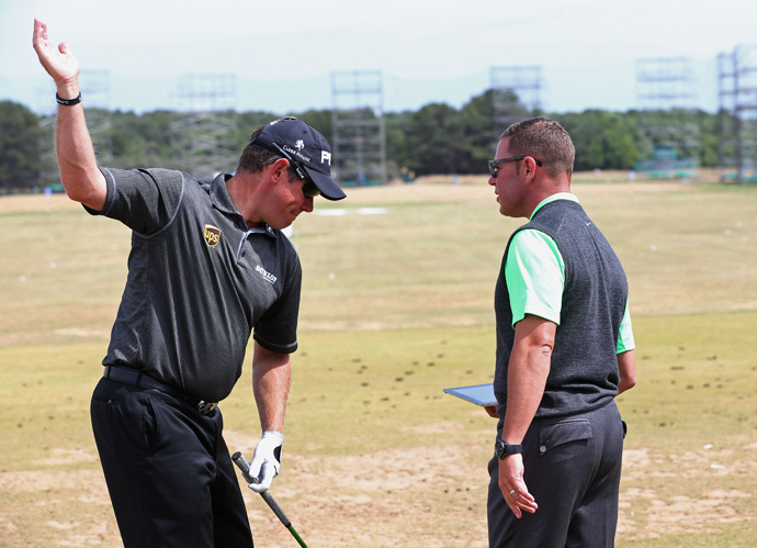 Lee Westwood got some work in with new swing coach Sean Foley.