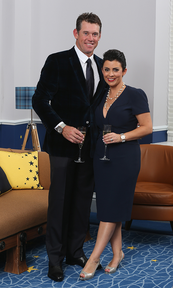 Lee Westwood of Europe and his wife Laurae Westwood pose for a photograph at the Gleneagles Hotel before leaving for the Ryder Cup Team Gala Dinner on Sept. 24, 2014 in Auchterarder, Scotland.