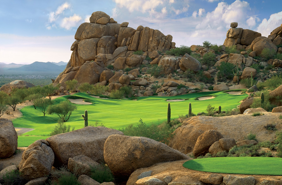 Whisper Rock Golf Club -- Scottsdale, Ariz.This desert oasis has 36 holes and a membership list filled with names from the PGA Tour: Phil Mickelson, Geoff Ogilvy, Billy Mayfair, Aaron Baddeley, Tim Herron. By Scottsdale standards, landing a tee time is very tough, though maybe not as tough as keeping your composure when the largely low-single-digit handicap members turn to watch closely as you step up to the tee.