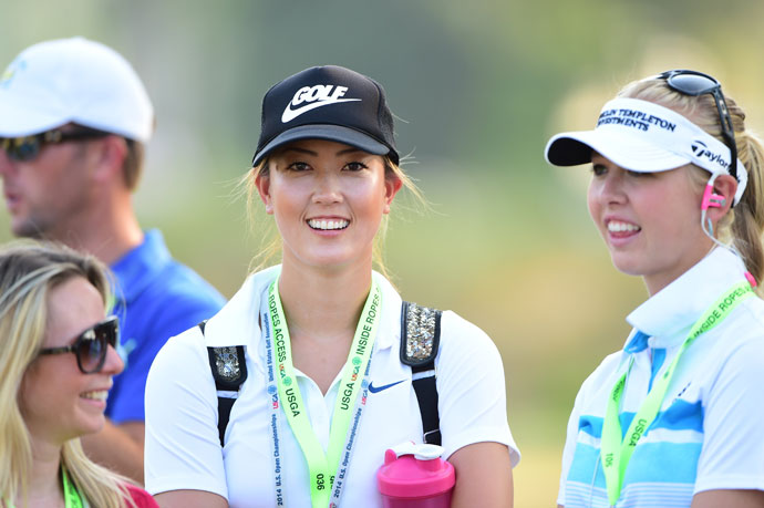Wie and other LPGA players flooded Pinehurst No. 2 as the course was open to LPGA players during the final round of the U.S. Open. Wie walked with the final pairing of Martin Kaymer and Rickie Fowler.