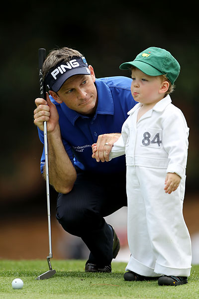 Wilson's young son caddied for him during the contest.