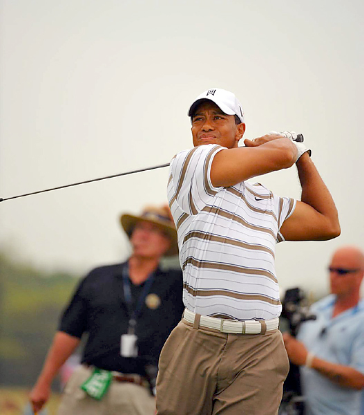 Due to the fog delays, Tiger Woods did not tee off until 6:45 p.m. Eastern.
