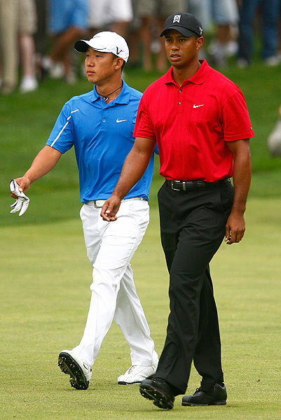 Woods played with Anthony Kim, who seemed to crumble in the presence of the world's No. 1 player.