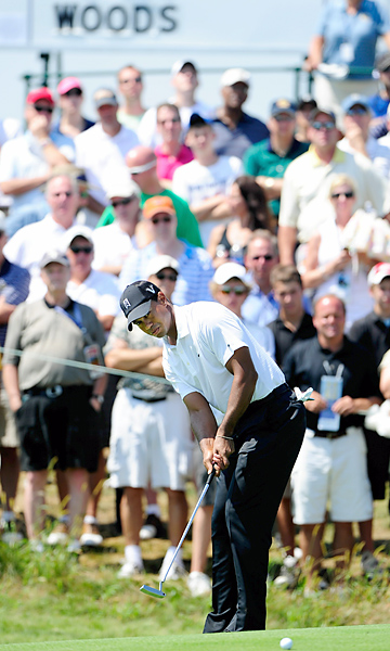Woods started the round birdie-birdie, but cooled off toward the end, finishing one under.