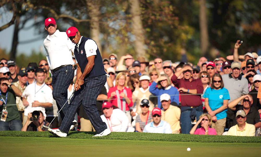 Tiger Woods recovered from a poor showing in the morning to make seven birdies in the afternoon. He carried Stricker, but it wasn't enough to beat Colsaerts and Westwood.