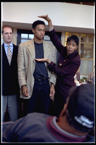 Tiger Woods prepping for a photo shoot.