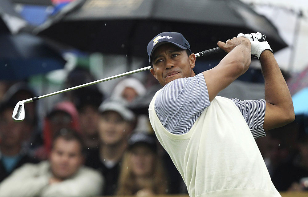 Tiger Woods and Dustin Johnson lost to Y.E. Yang and K.T. Kim, 1 up. Woods has only one win this week.