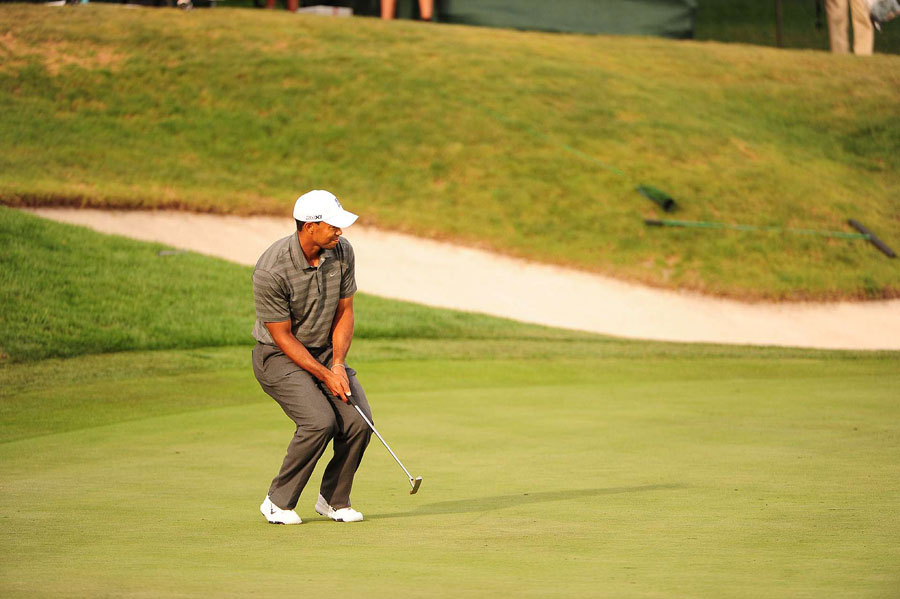 Woods just missed a birdie on 18.