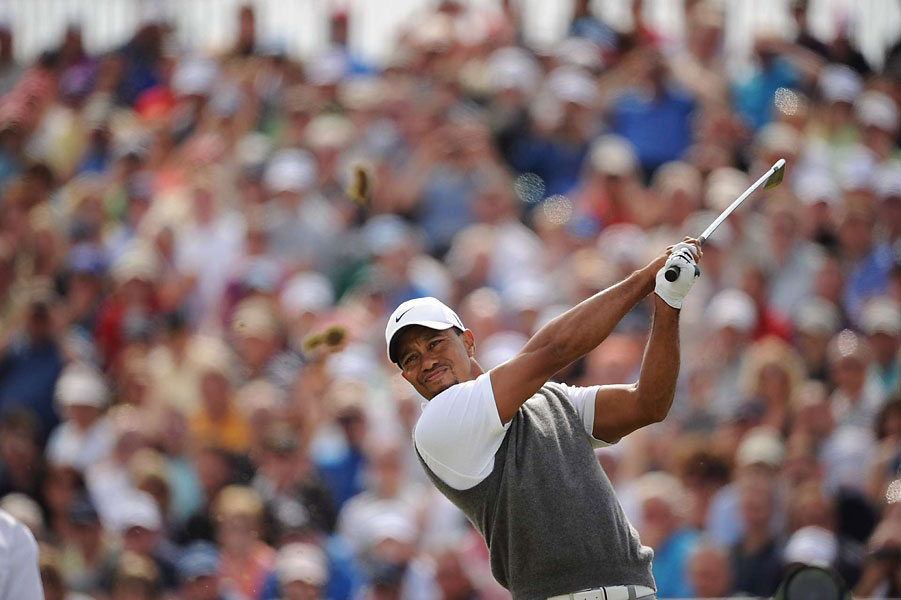 Woods shot even par in the third round.
