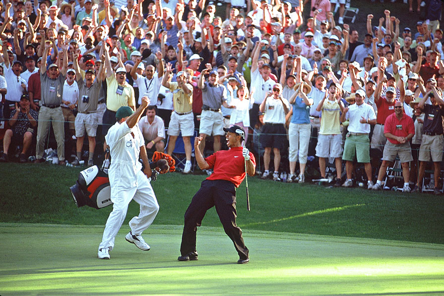 In 2005, Woods holed a miraculous chip shot on the par-3 16th on his way to winning a fourth green jacket.